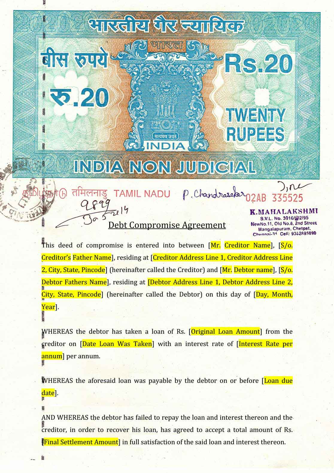 Debt Compromise Agreement Format