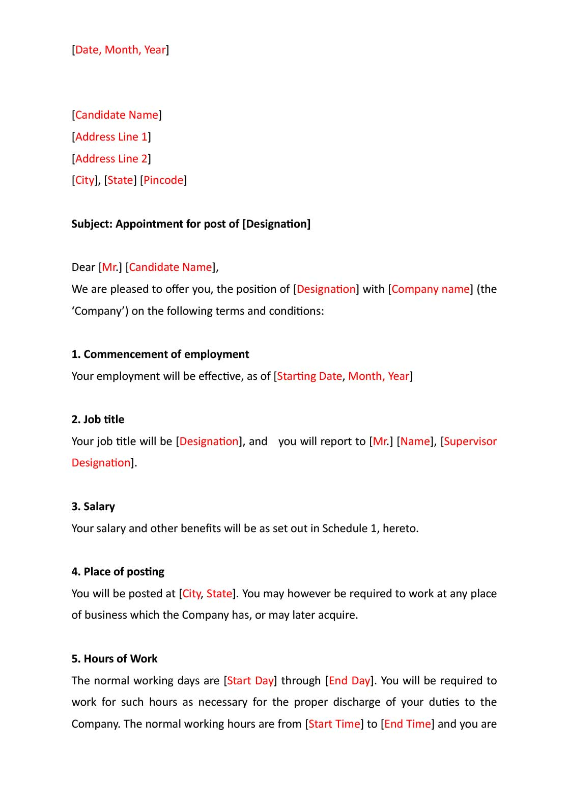 Appointment letter format indiafilings document center sample appointment letter spiritdancerdesigns Image collections