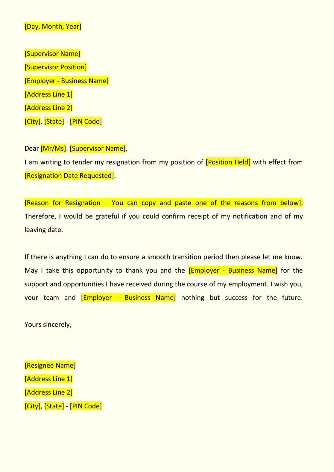 formal letter format resignation