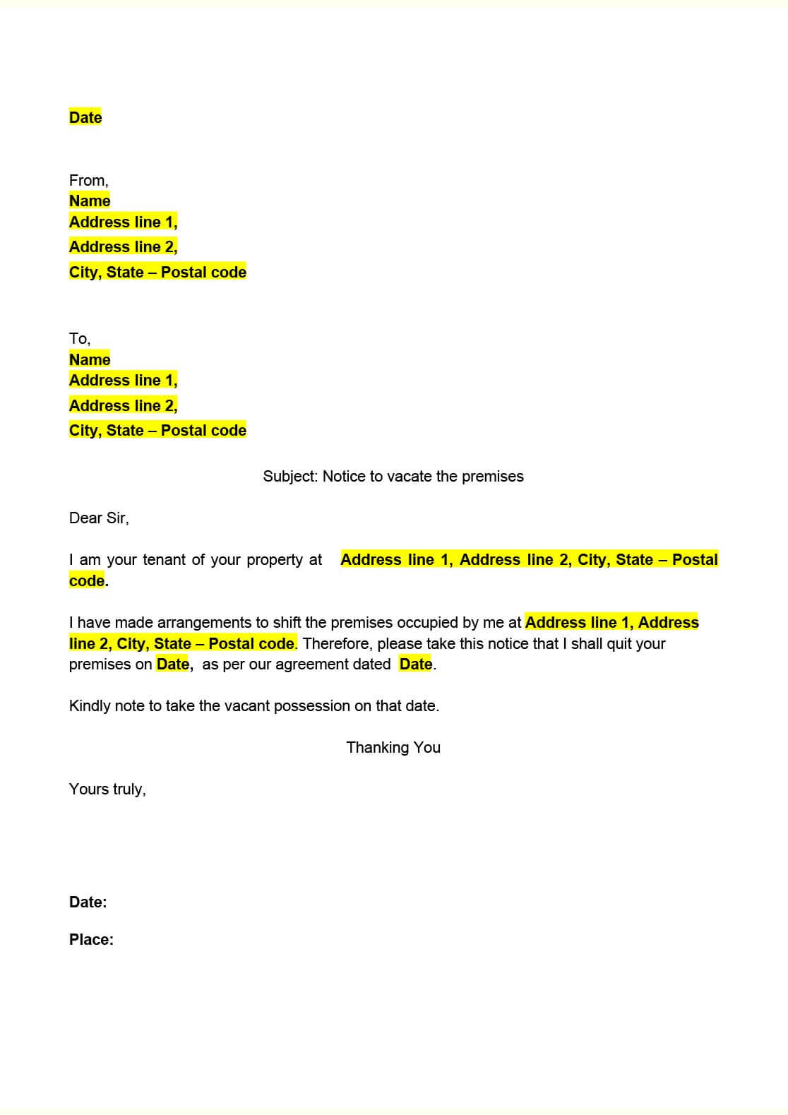 notice to vacate tenant