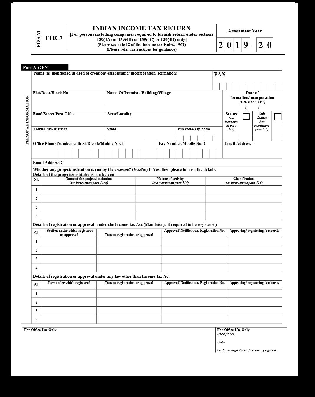 ITR 7 Form