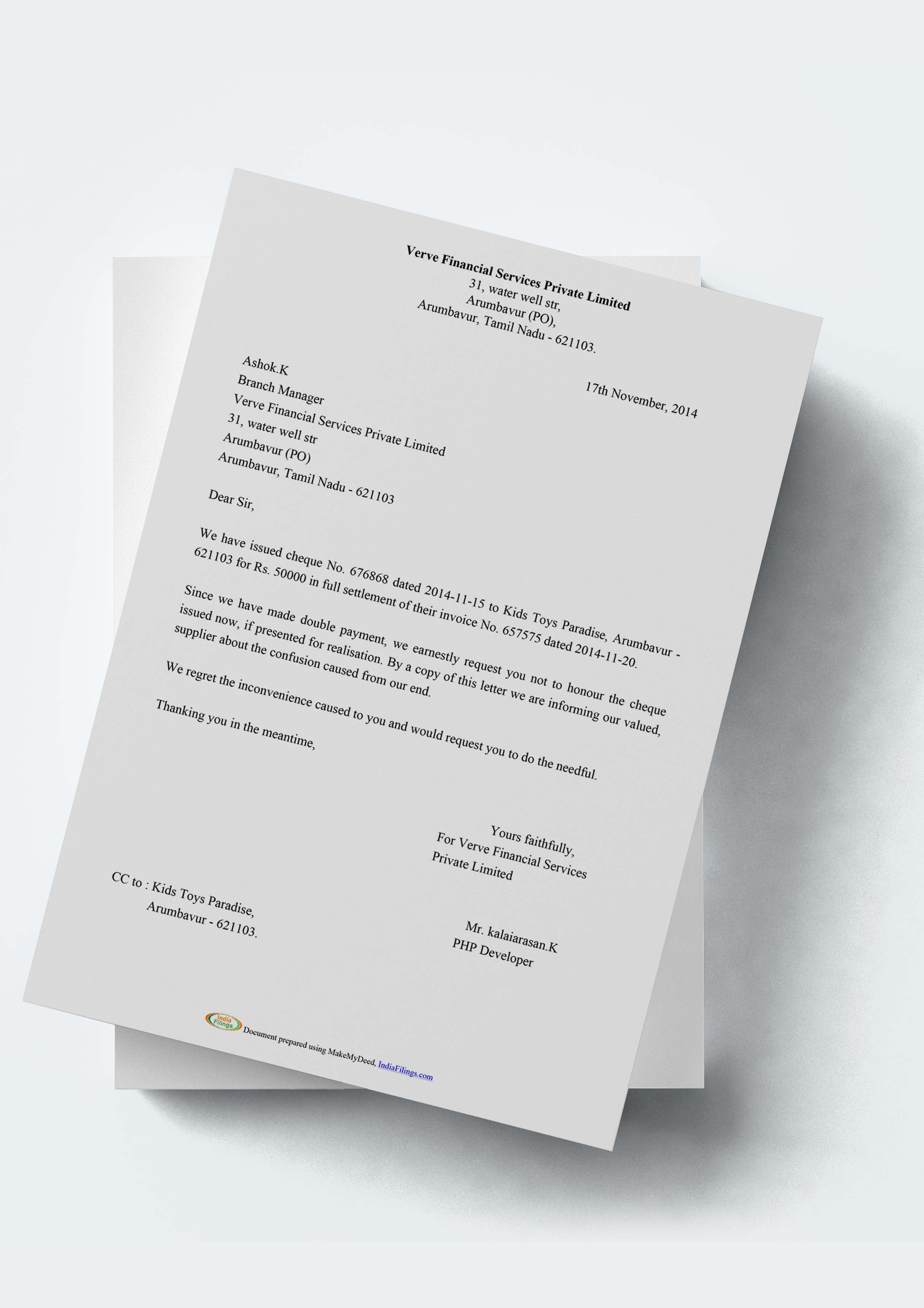 Cheque Stop Payment Letter Format and