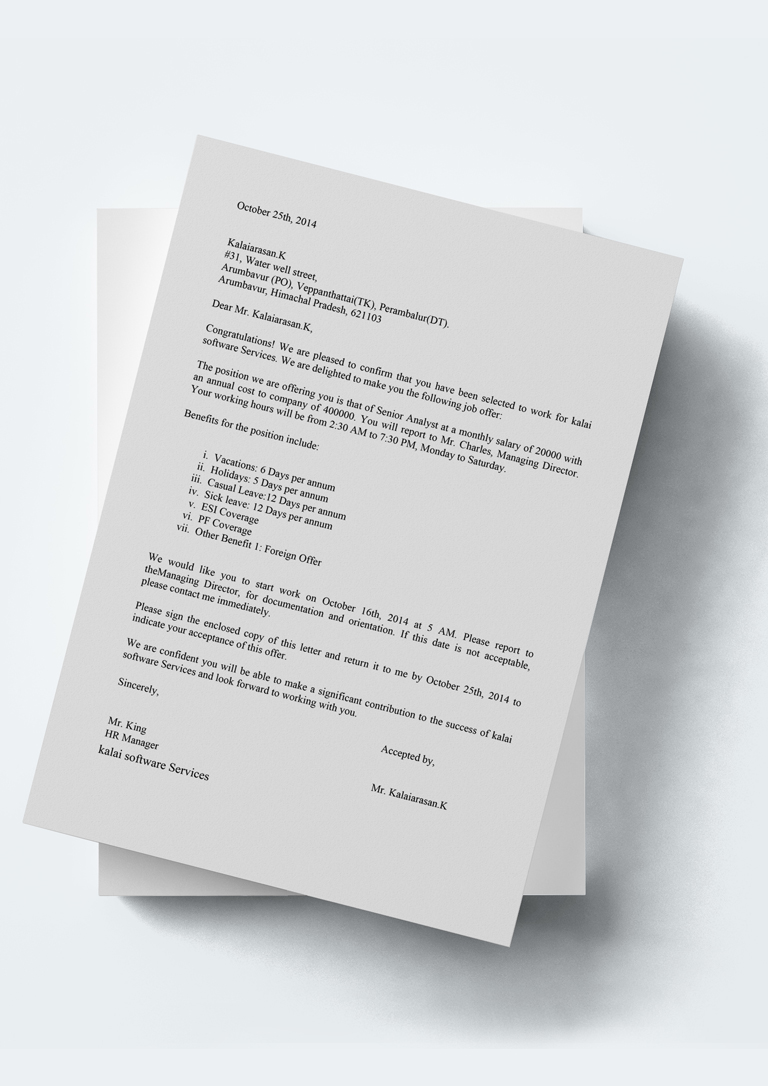 Company Appointment Letter Template