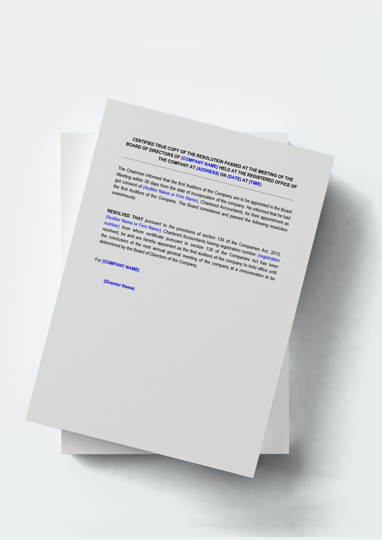 appointment letter formats%0A Format Of Board Resolution For Appointment Auditor