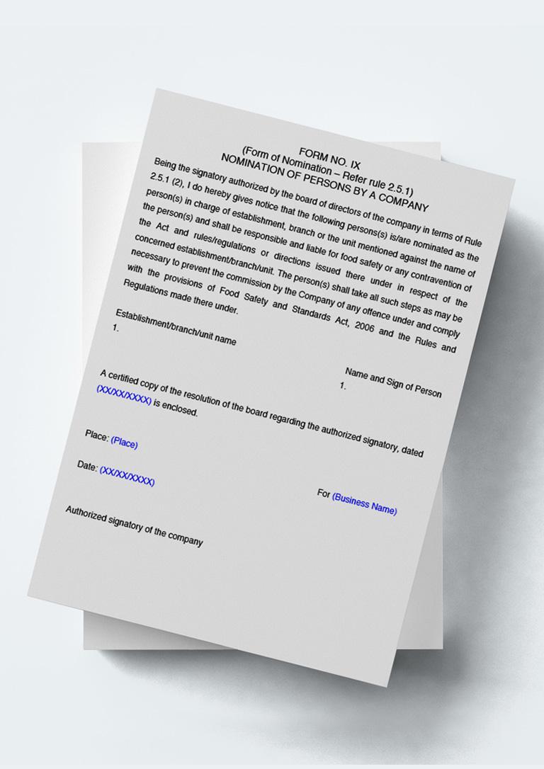 fssai nomination form ix