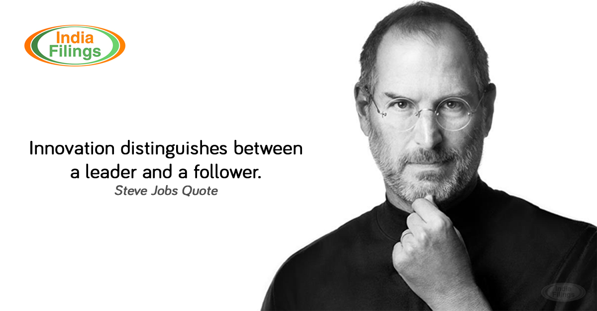 IndiaFilings, Steve Jobs Quote, Innovation distinguishes between a leader and a follower