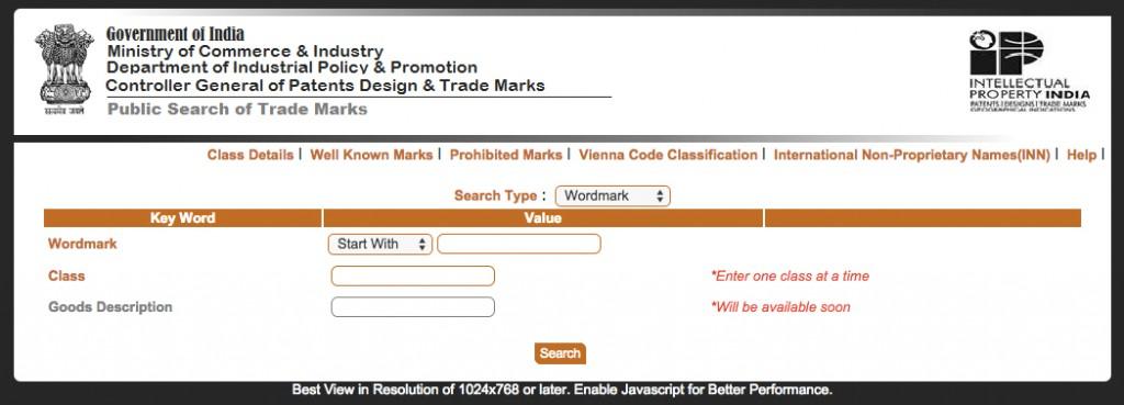 Trademark Search Website