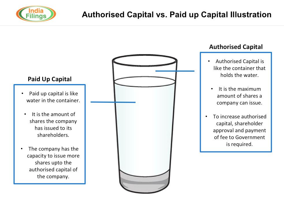 Authorised Capital vs Paid Up Capital Illustration