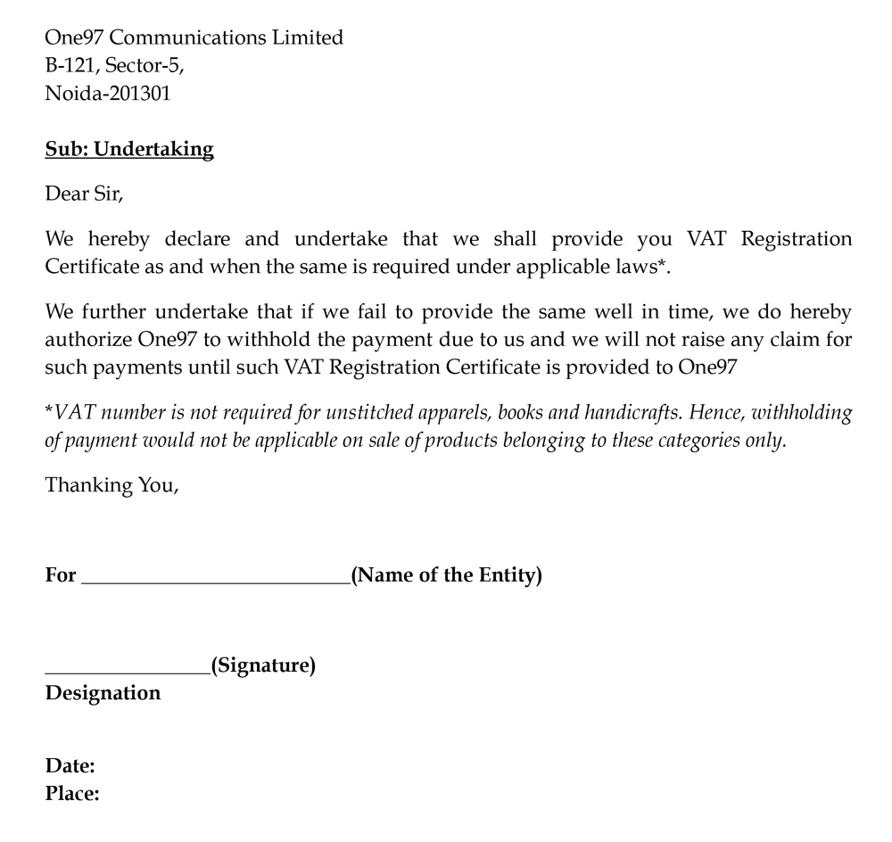 Sample letter selling a car sample business letter 8 undertaking documents required for letter of undertaking spiritdancerdesigns Image collections