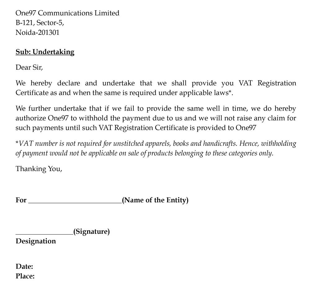 Paytm undertaking to obtain VAT registration