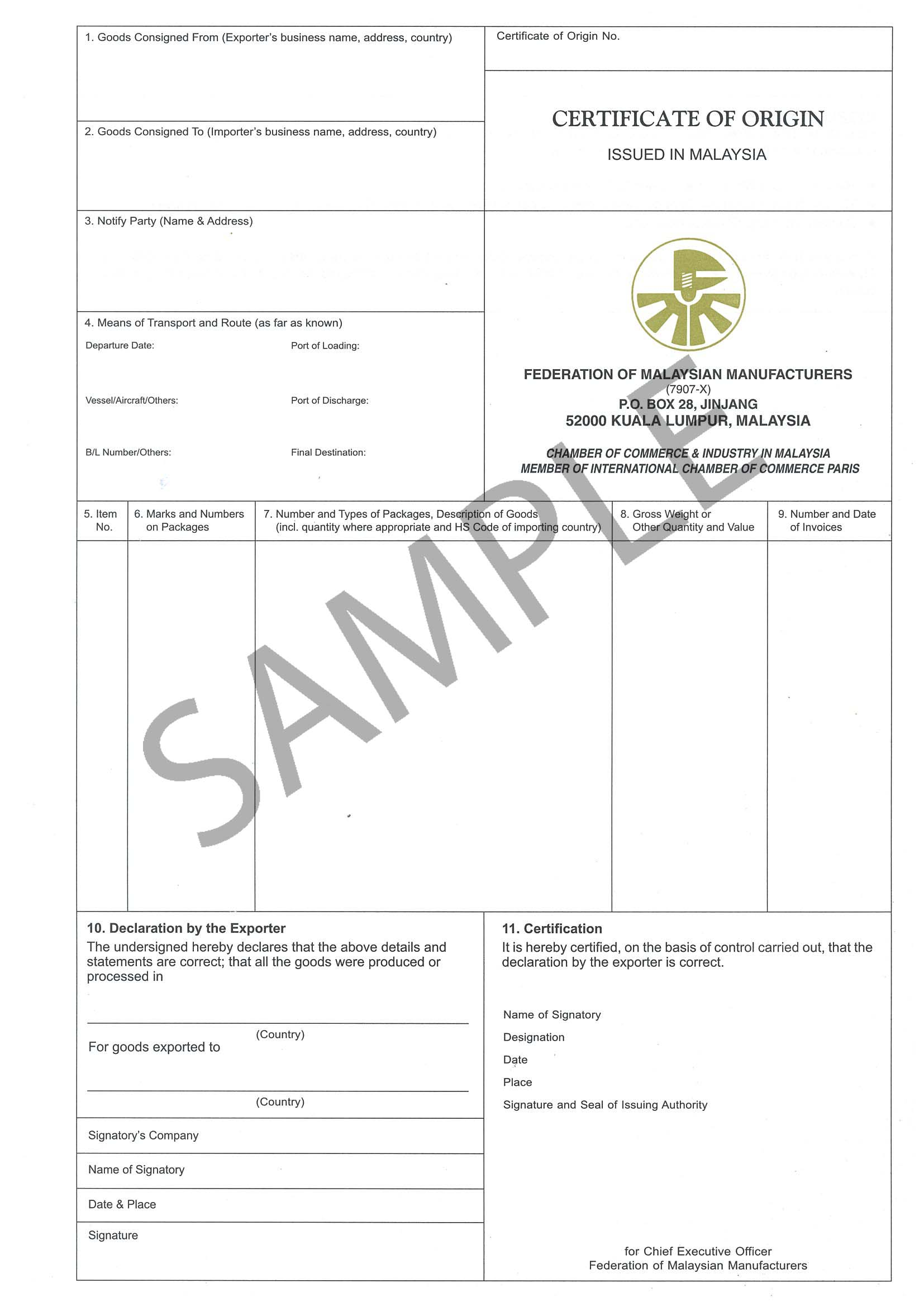 certificate of origin – Sample Certificate of Origin