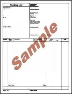 packing list sample
