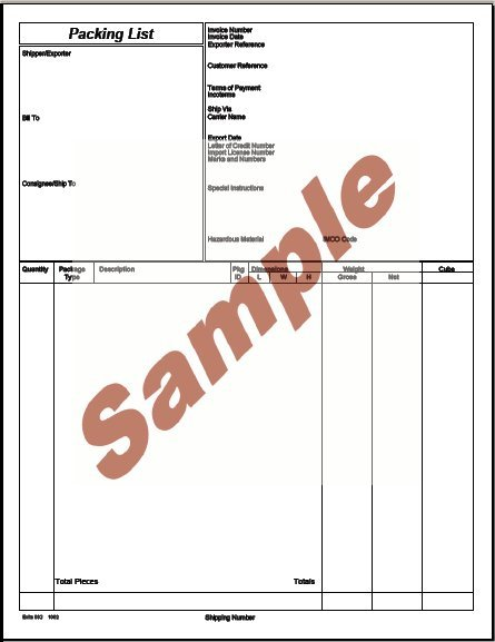 Sample Export Packing List  IndiafilingsCom  Learning Center