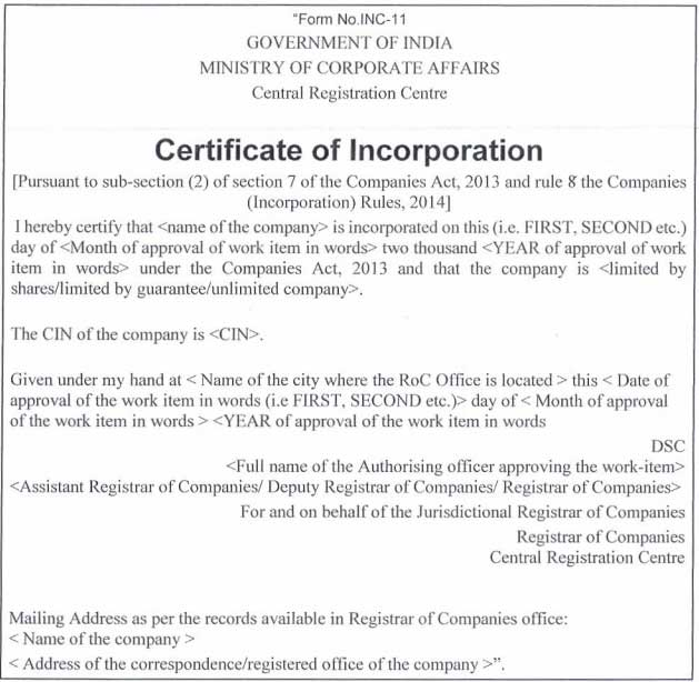 New Certificate of Incorporation