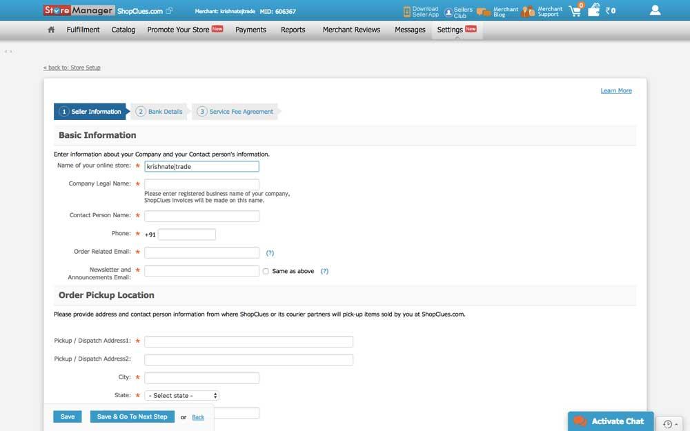 Shopclues Seller Registration Platform