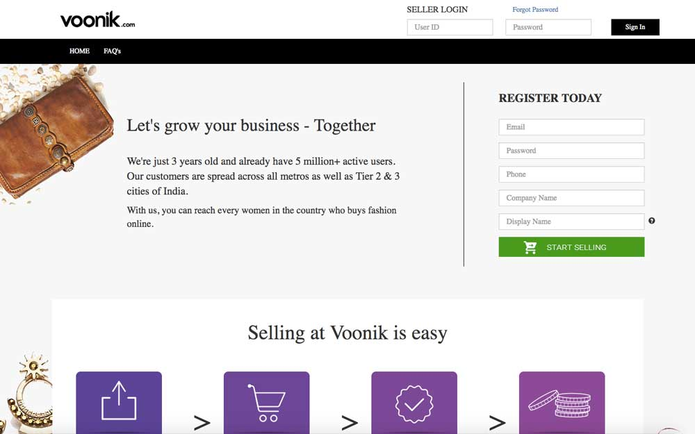 Voonik Seller Registration Step 1