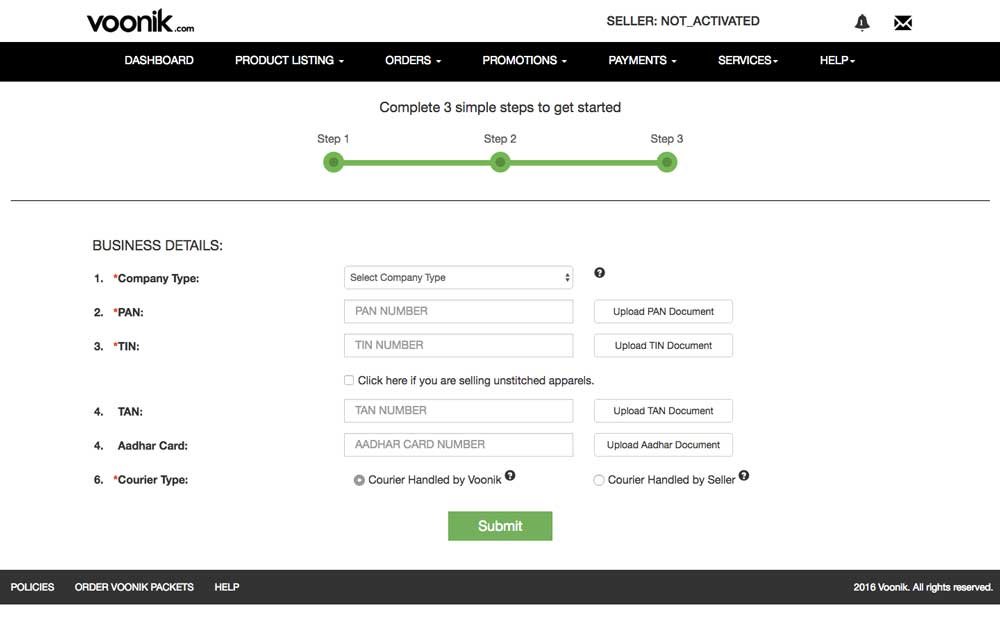 Voonik Seller Registration Step 4