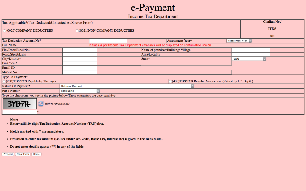 Online Income Tax Payment Challans - IndiaFilings