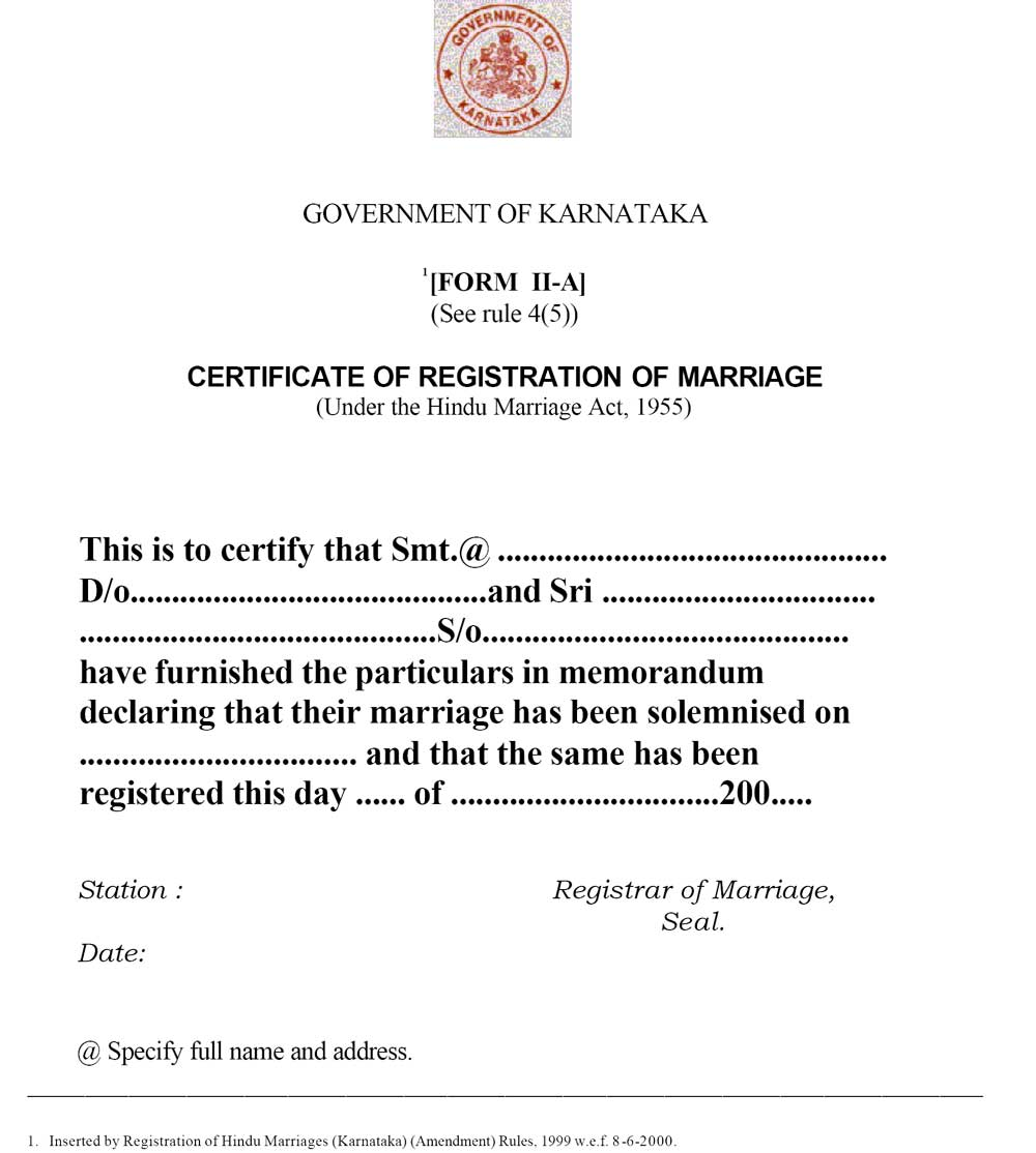 Sample Marriage Registration Certificate Indiafilings Learning