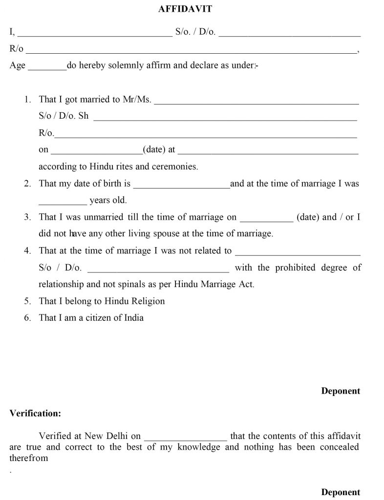 Delhi Marriage Certificate Affidavit