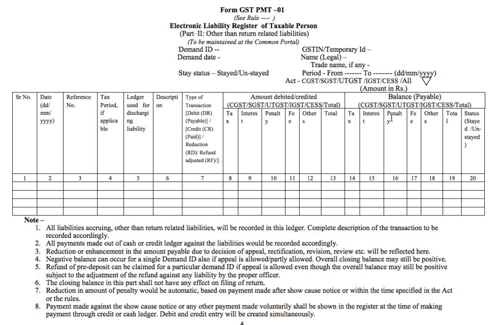 GST Form PMT-01 - Part B