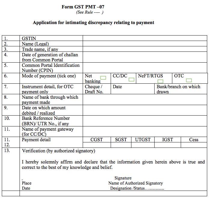 GST Form PMT-07