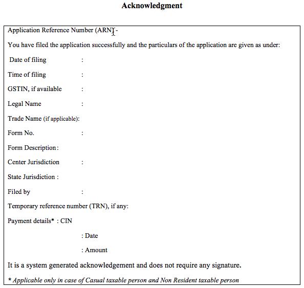 GST Registration Application Acknowledgement