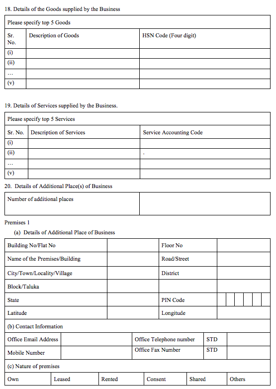GST Registration Application - Page 5