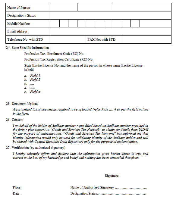 GST Registration Application - Page 8