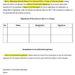 Declaration of Authorised Signatory