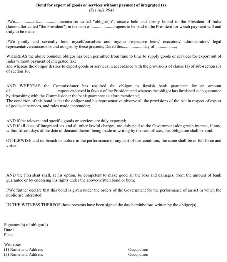 Export Bond for GST & Letter of Undertaking