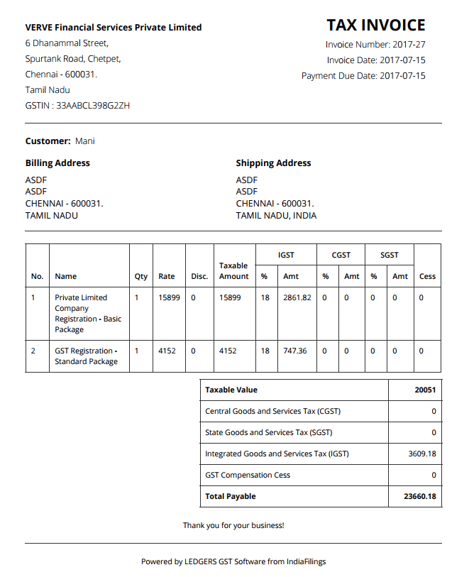 GST Invoice - Created on LEDGERS GST Software