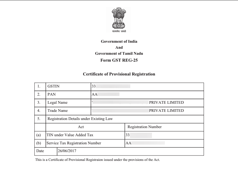 Sample Provisional GST Registration Certificate