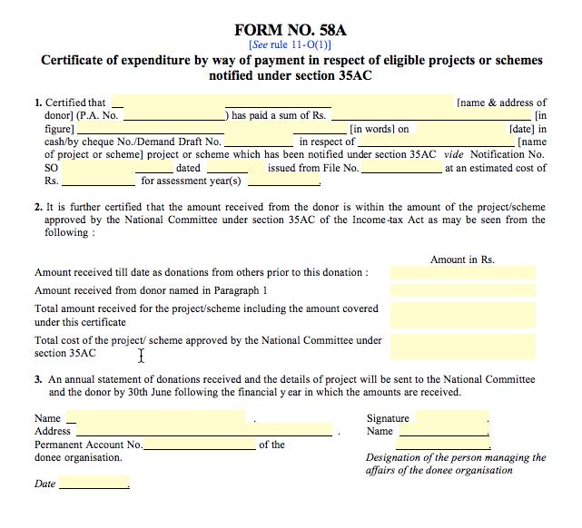 Form 58A Format