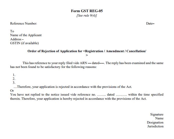 GST Registration Application Rejection Order