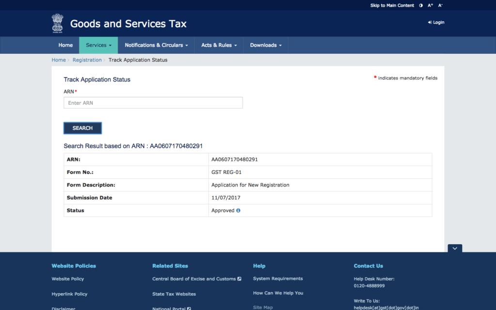 GST Registration Application Status