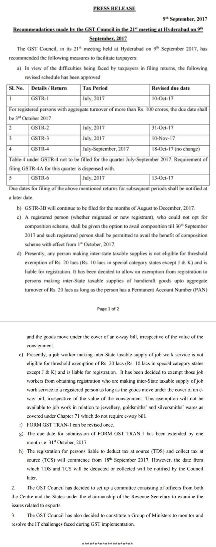 GST Council Press Release 9 September 2017