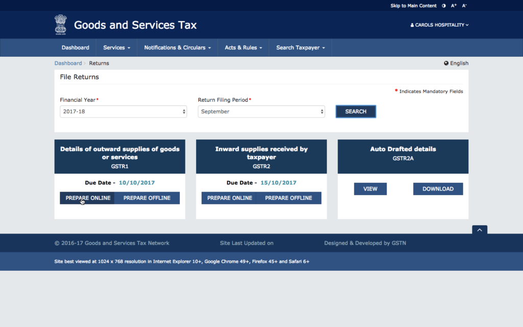 Select GSTR-1 Return Filing