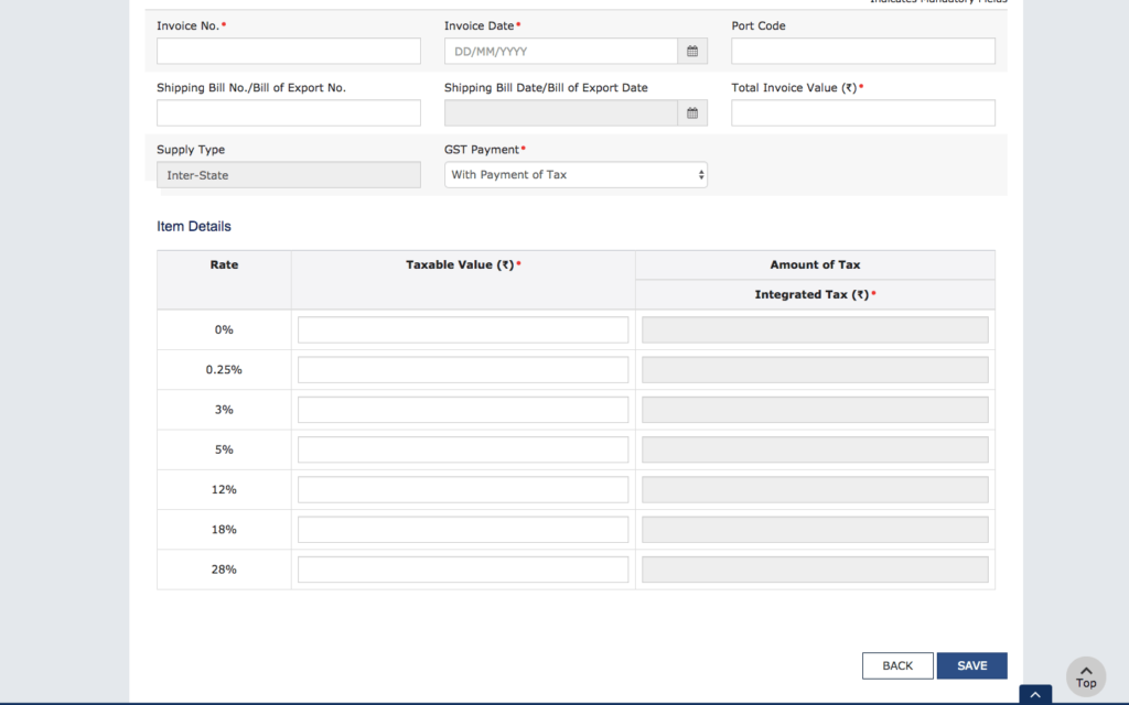 Step 3 - Input details of export invoices