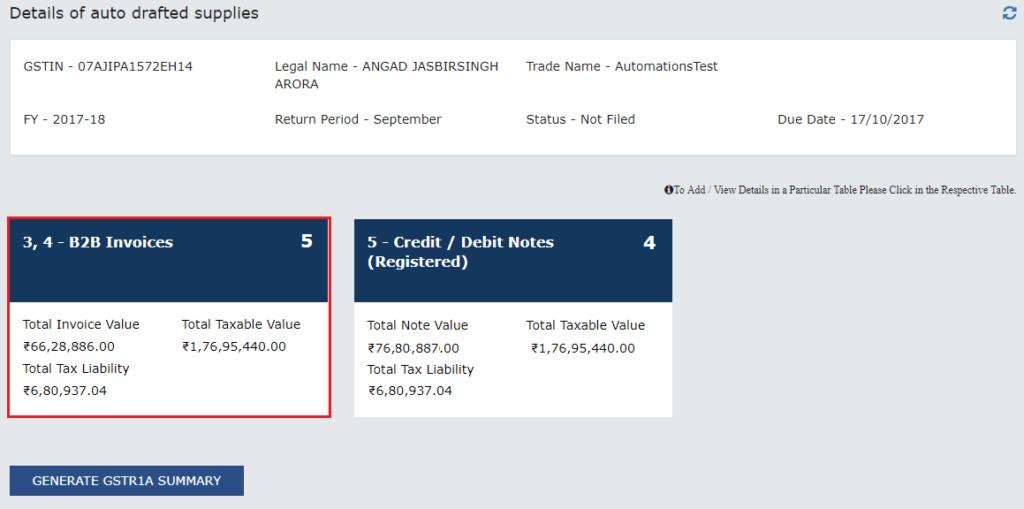 Step 3- View GSTR 1A B2B Invoices