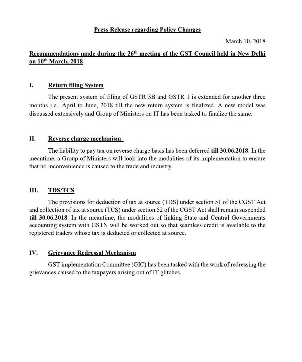 26th GST Council Meeting - GSTR 3B Return Filing