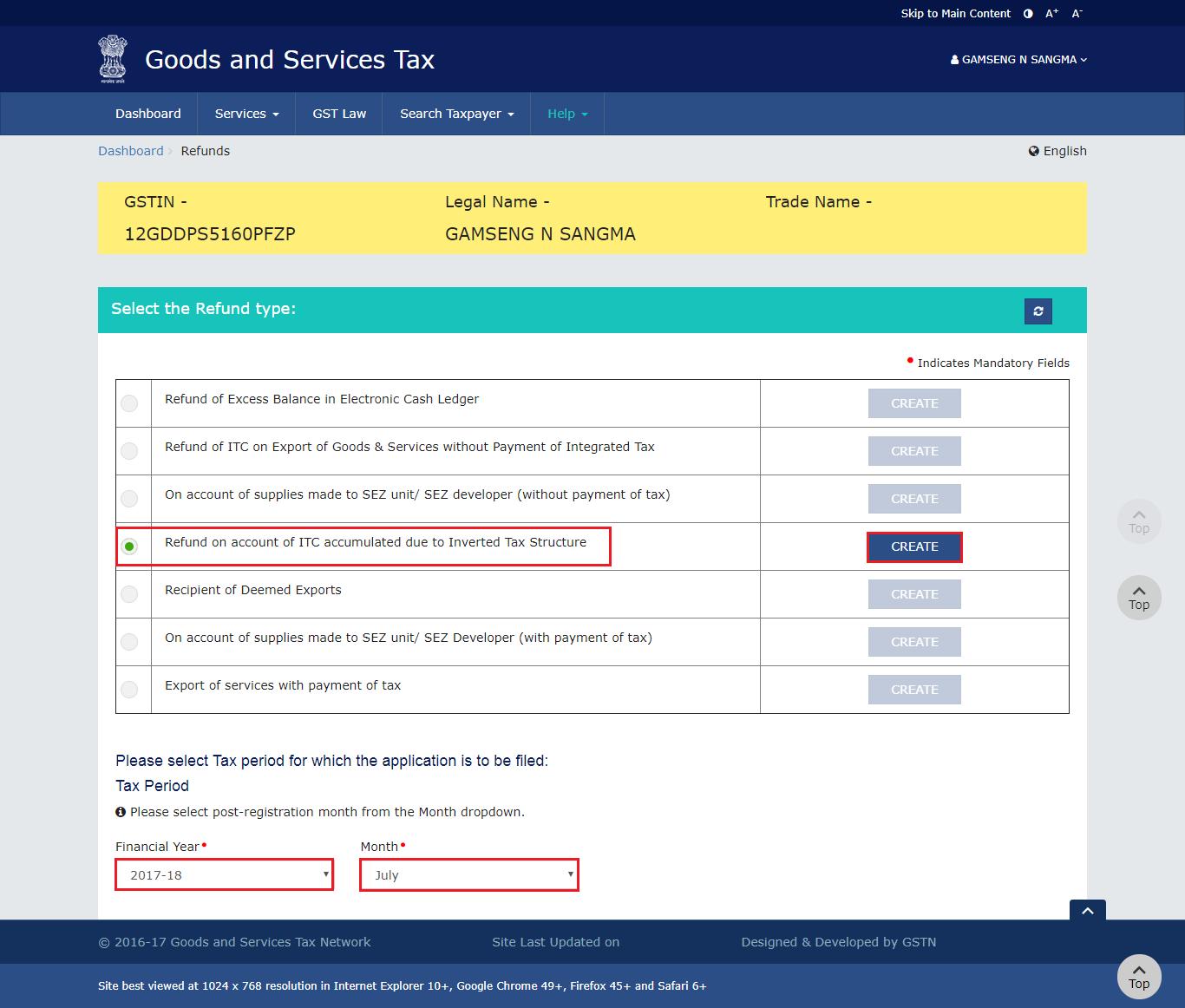 Step 2 - Unutilised Input Tax Credit Refund