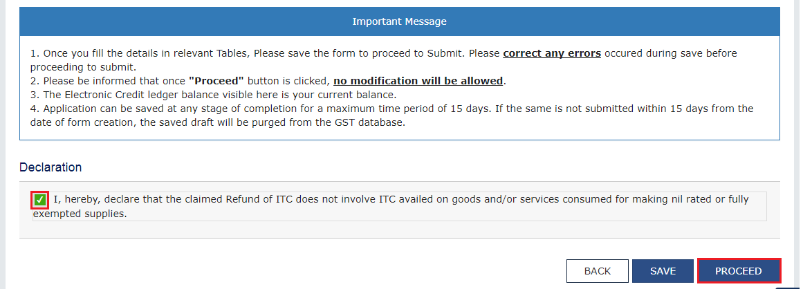 Step 4A - Unutilised Input Tax Credit Refund