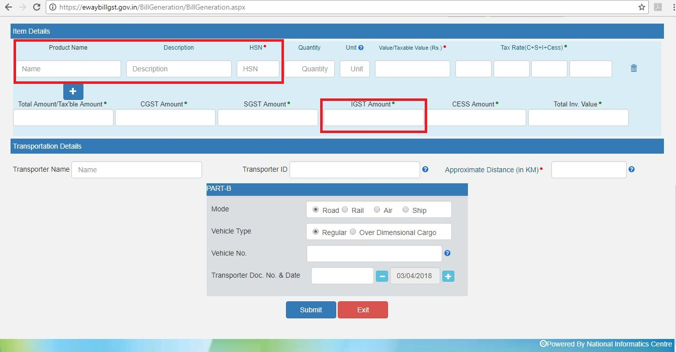 How To Generate EWay Bill Government Portal IndiaFilings - Online invoice maker india