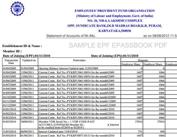 Sample format of an EPF passbook