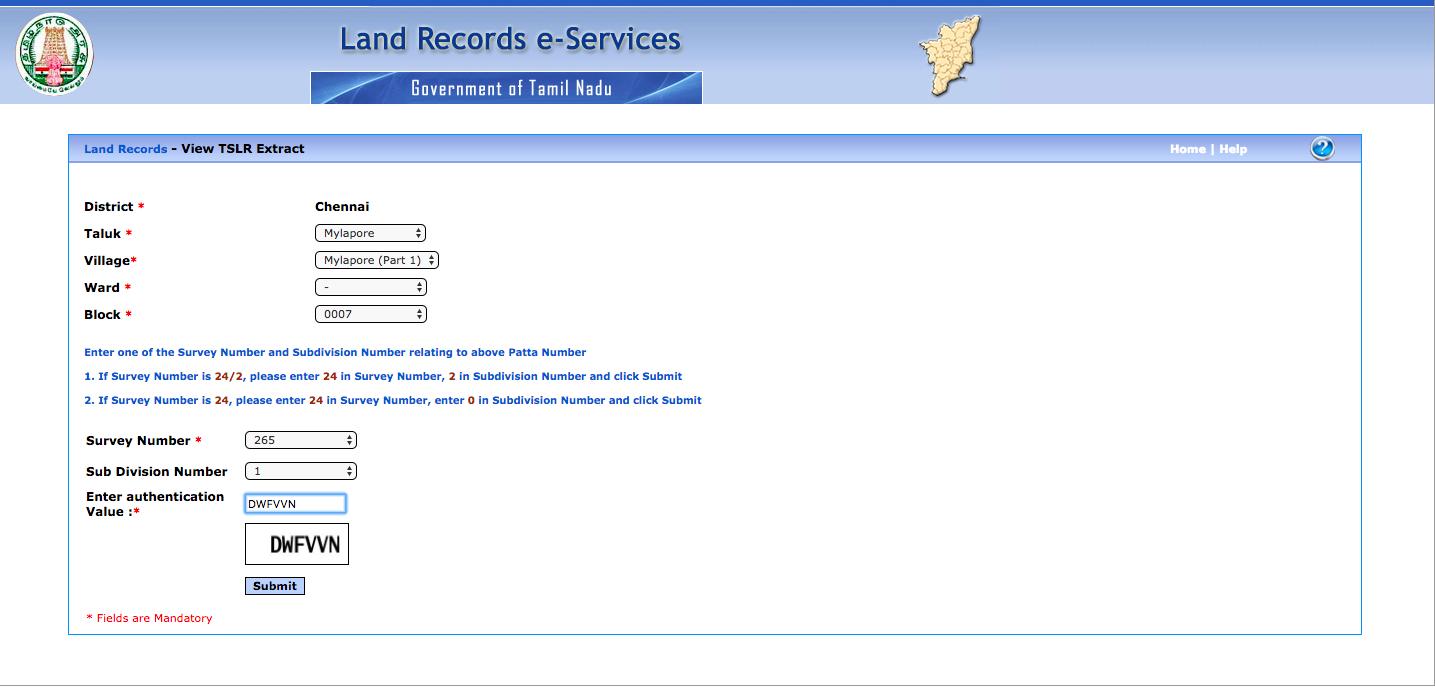 Patta Chitta - Online Application - IndiaFilings