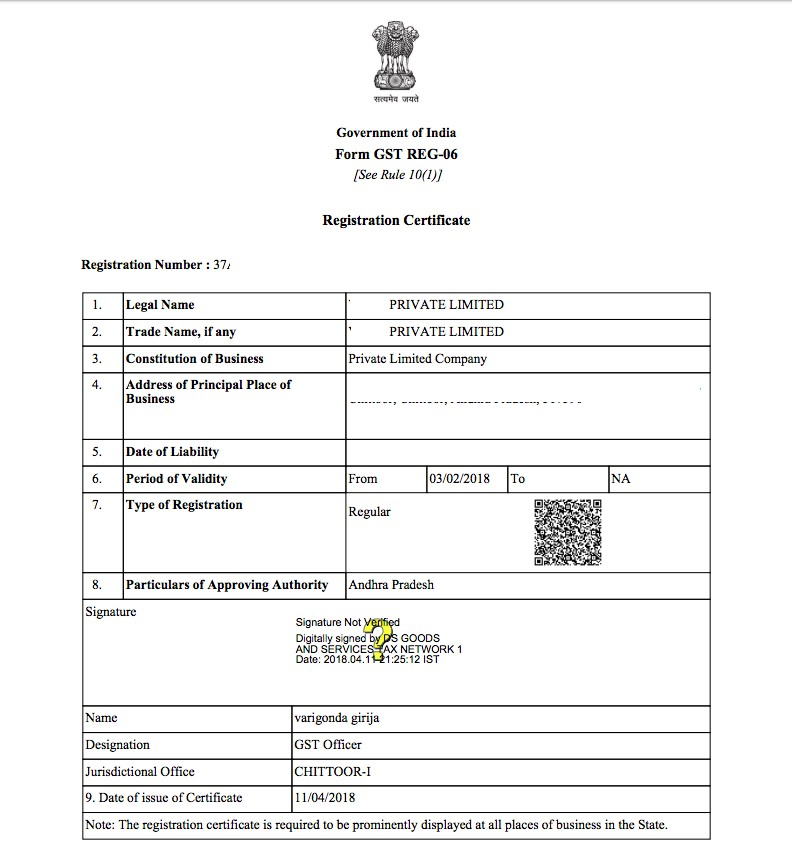 Sample GST Registration Certificate