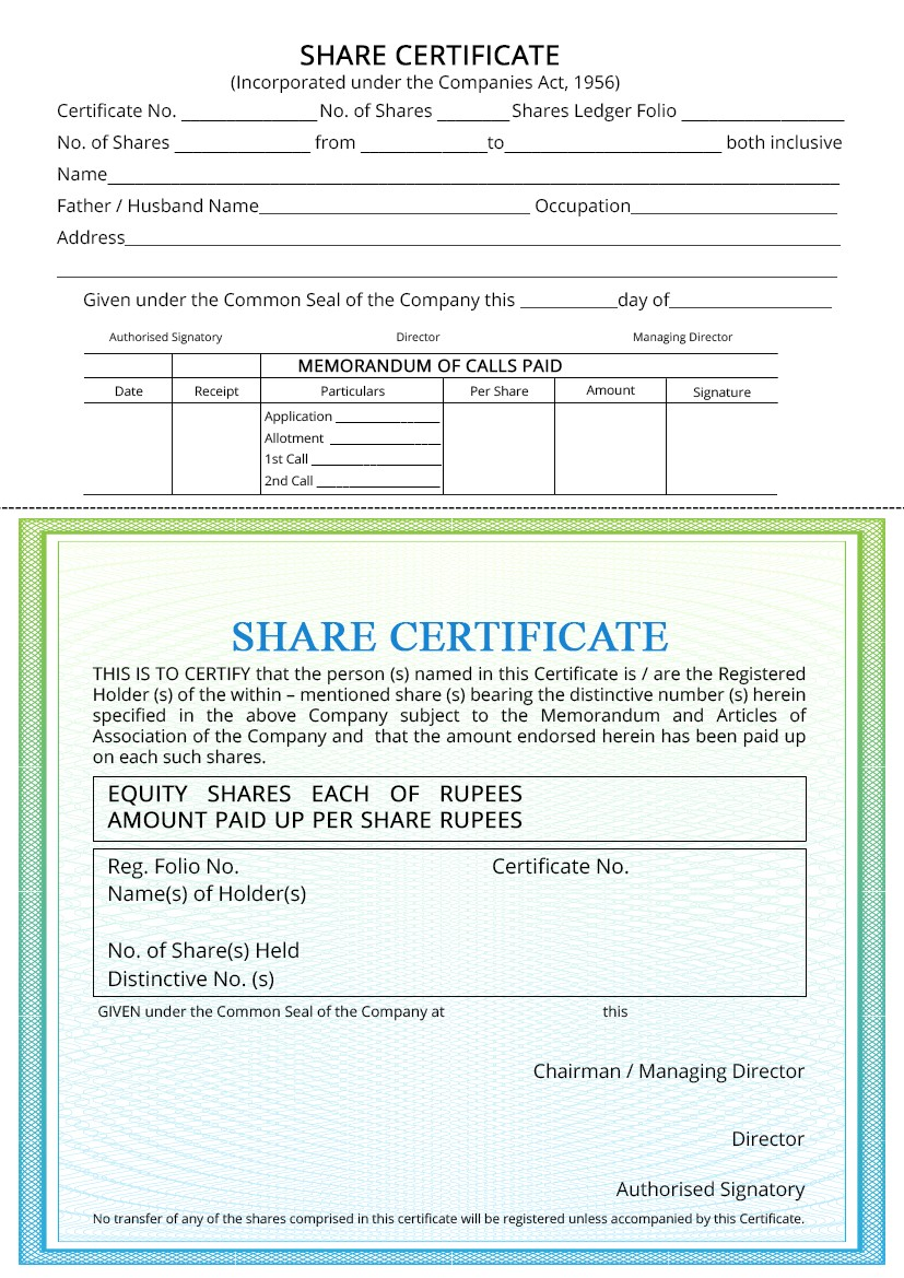 Company Share Certificate - Procedure for Issuing - IndiaFilings