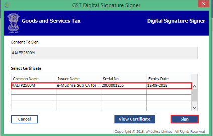 emSigner - Register DSC on GST Portal
