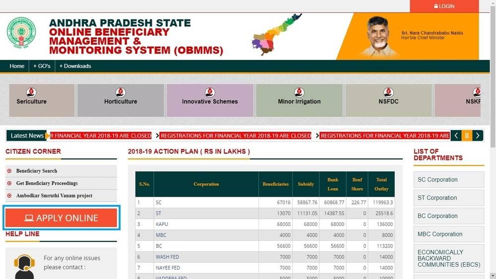 OBMMS - Andhra Pradesh - Application Procedure - IndiaFilings